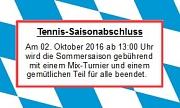 Tennis 2016 - Saisonabschluss 2016